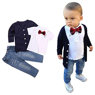 a6595b2cf017c Scaling❤ Fashion Baby Boy Outfits Summer Gentleman Bow Tie T Shirt  Tops+Jeans Long Pant+Coat 3pcs Clothes Set