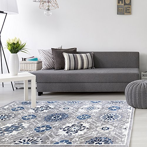 Gertmenian Signature Modern Rug Prime Label Abstract Woven Area Carpet 8x10, Large, Medallion Blue Bead