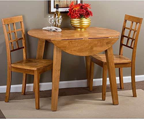 Jofran Simplicity Round Wood Dropleaf Dining Table in Honey