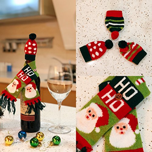 FEFEHOME Christmas Ugly Sweater Wine Bottle Cover Scarves and Hats Gift Bags (B)Set of 3]()