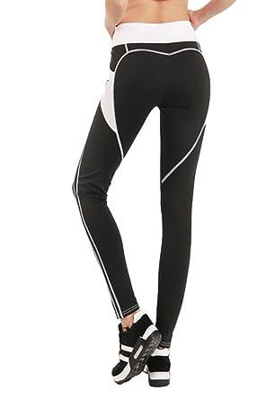 6da0d900dd5c0 FITTOO Pantalon de Sport Femmes Yoga Pants Legging de Sport Collant, Noir  et Blanc,