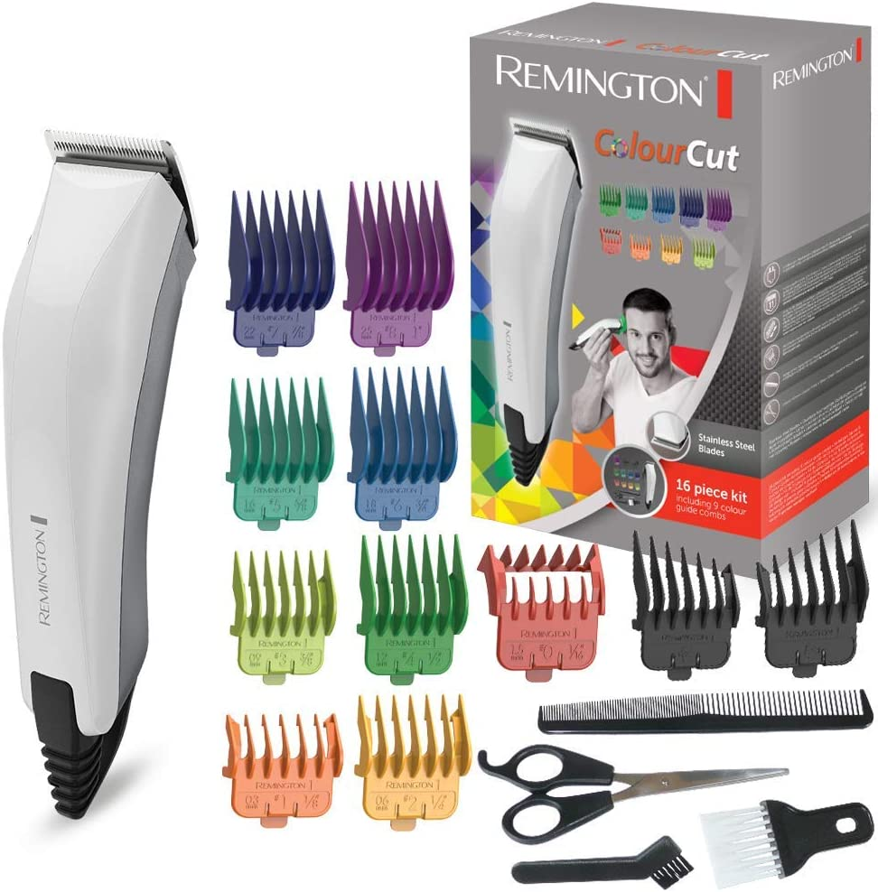 Remington HC5035 ColourCut - Máquina de Cortar pelo con cable, 16 Accesorios, Acero Inoxidable, Blanco y Gris: Remington: Amazon.es: Salud y cuidado personal