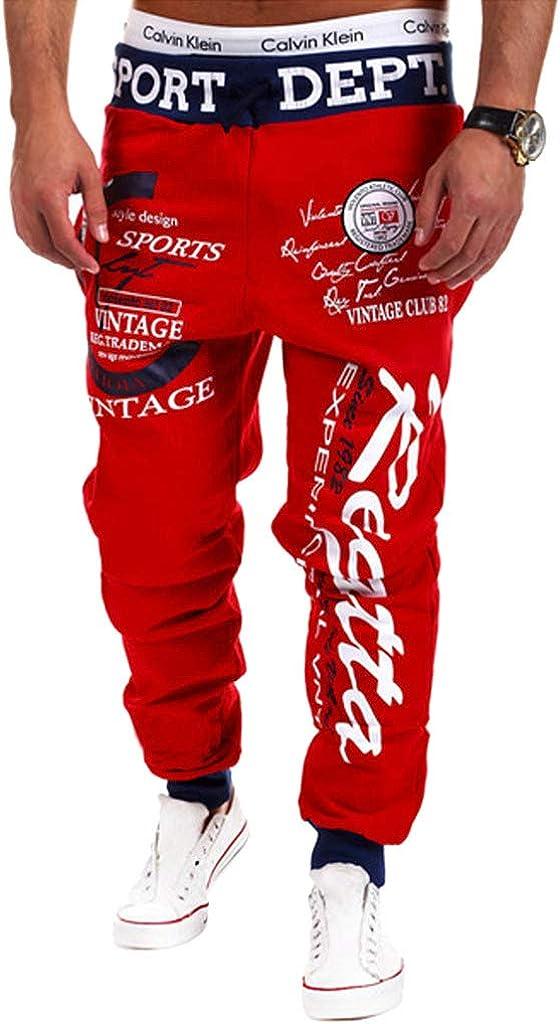 Cottory Mens Hip hop Loose Sweatpants Graffiti Sports Jogger Trousers Black Red X-Large