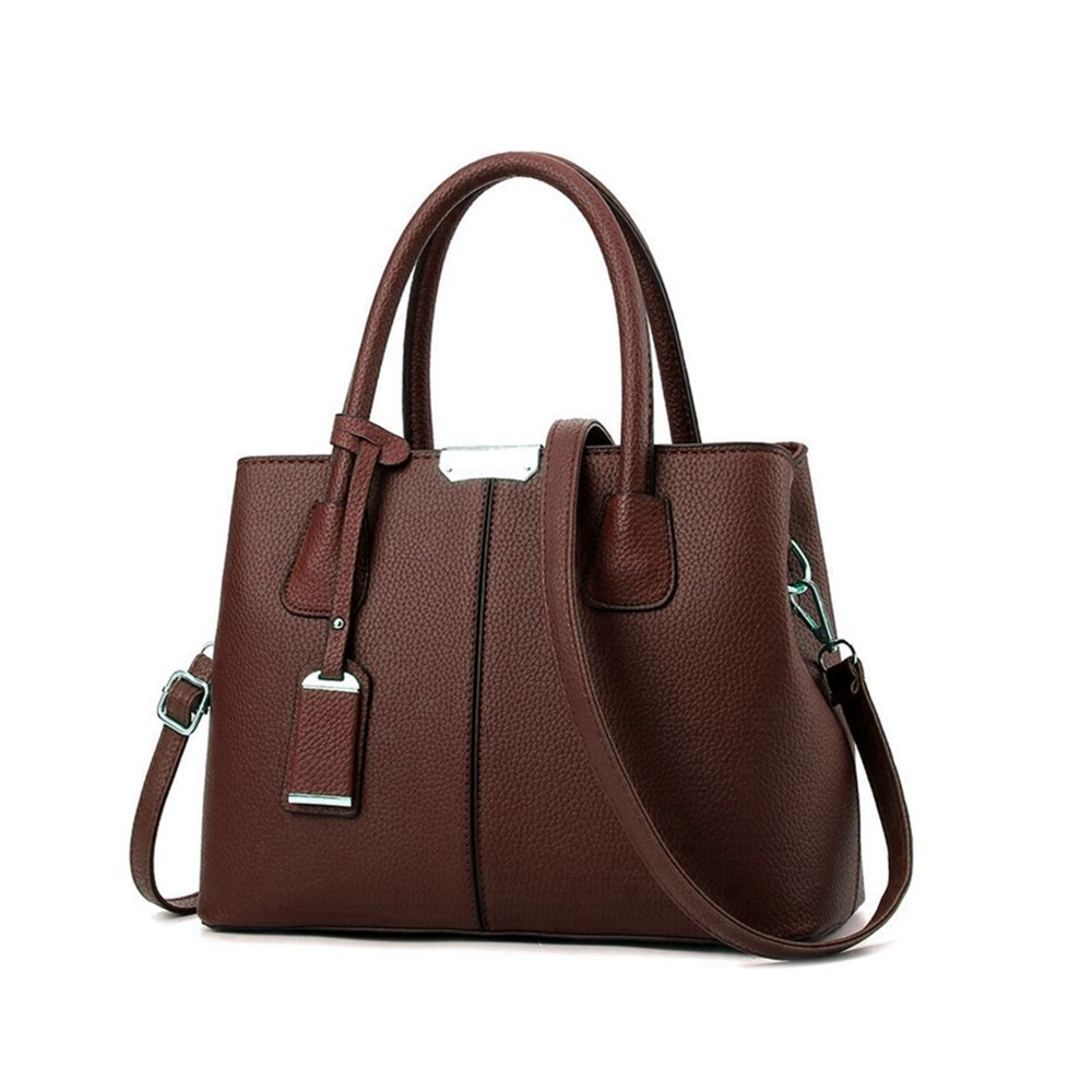 B&E Life Stylish Women Pu Leather Vertical Utility Top Handle Handbag Satchel Tote Purse Bag (Coffee) by B&E Life (Image #1)