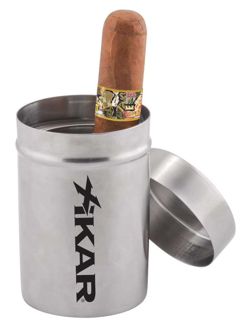 Stainless Steel Construction Fits Into Most Cup Holders Ring and Spiral To Secure Cigars Portable Xikar Ashtray Can