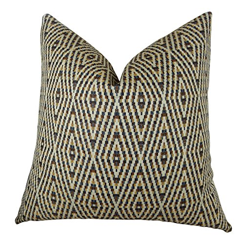 Thomas Collection Designer Decorative Indigo Throw Pillow - Cream Mustard Blue Brown Diamond Braid Throw Pillow - Diamond Geometric Pillow, Handmade in US, 11078