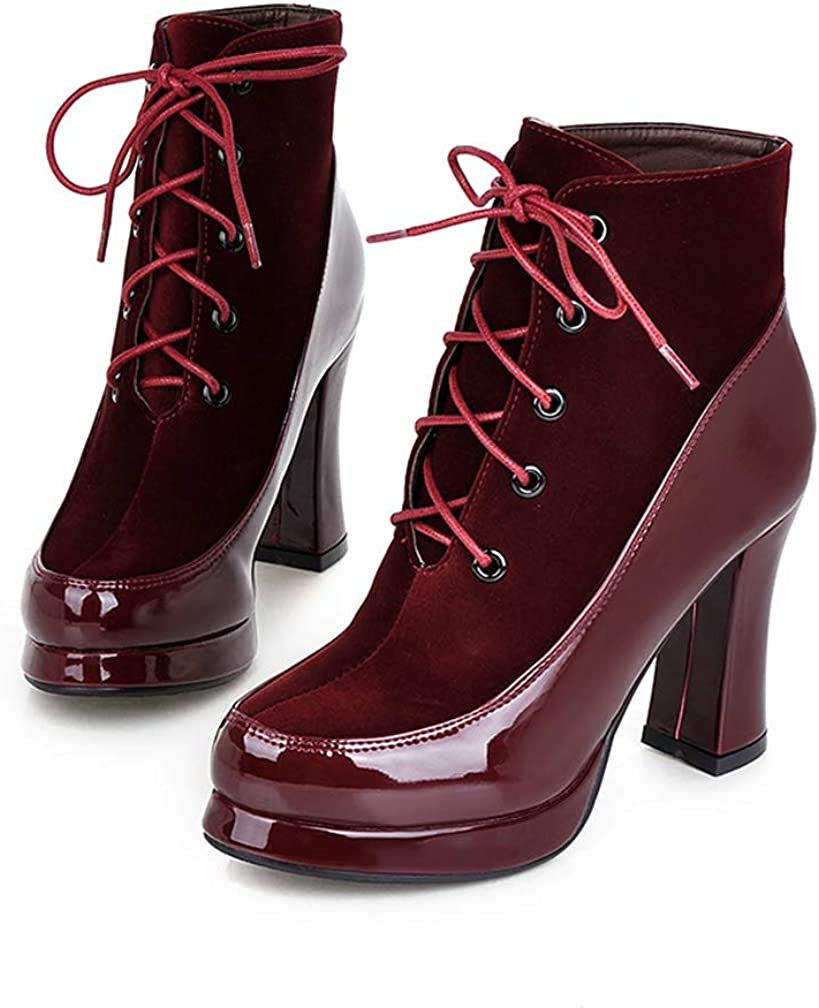 Woman Fashion Ankle Boots Thick High Heels Lace Up Round Toe PU Sweet Dress Platform Winter Warm Ladies Shoes