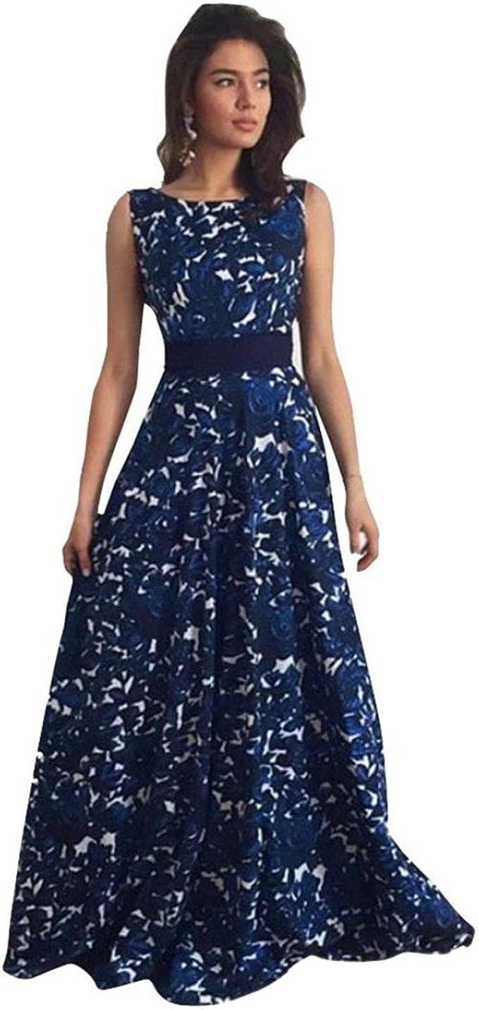 Lilicat Damen Sommerkleid Elegant Ballkleider Lang Chic Blumen Abendkleid  Frauen Vintage Baumwolle Hochzeitskleid Party Bekleidung V Neck Rückenfrei