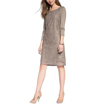 ESPRIT Collection Damen Kleid 095EO1E002, Knielang, Gr. 36  (Herstellergröße  S), Braun (TAUPE 240)  Amazon.de  Bekleidung 7e48f37814