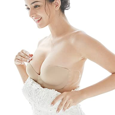 29d0e219a8137 Miss BOBO Strapless Seamless Backless inflatable stealth self-adhesive  invisible bra  Amazon.co.uk  Clothing