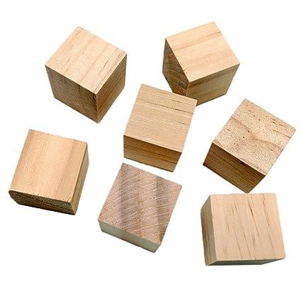 Cubi In Legno.20pz Naturali Cubi Di Legno Squre Abbellimento Artigianato Mestiere Diy Scrapbooking 20mm