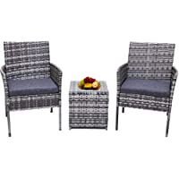 Wicker Garden Furniture Sets Rattan Chairs Table Set with Cushions & Side Table Mixed Grey
