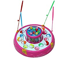 VikriDa Magnetic Fishing Game with 2 Rotating Ponds, Music and Light, Pink