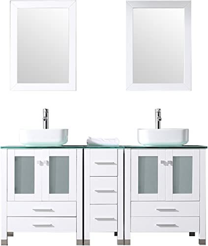 Walcut 60Inch White Bathroom Vanity and Sink Combo Solid MDF Cabinet with White Ceramic Vessel Sink and Faucet Pop Up Drain Combo, Double Mirror, 60