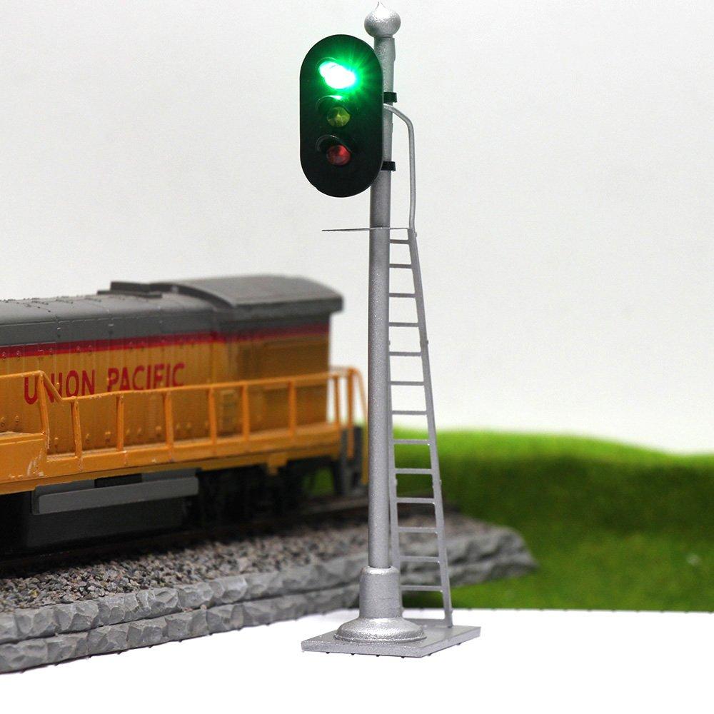Jtd873gyr 3pcs Model Railroad Train Signals 3 Lights Garden Railway Sensors Block Signal Ho Scale 12v Green Yellow Red Traffic For Layout New Toys
