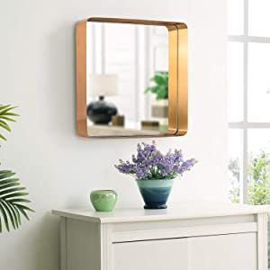 "MOTINI 20"" Large Square Mirror, Brushed Brass Metal Frame Wall-Mounted Mirror for Bedroom Bathroom Living Room Vanity Mirror"