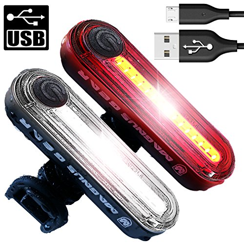 - S100 USB Bike Light Combo Set, Powerful 100 Lumen White Headlight + Red Rear Taillight Runs for 30 Hours, Fits on all Mountain Bikes, Road Bicycle, Helmets, Waterproof, Installs in Seconds