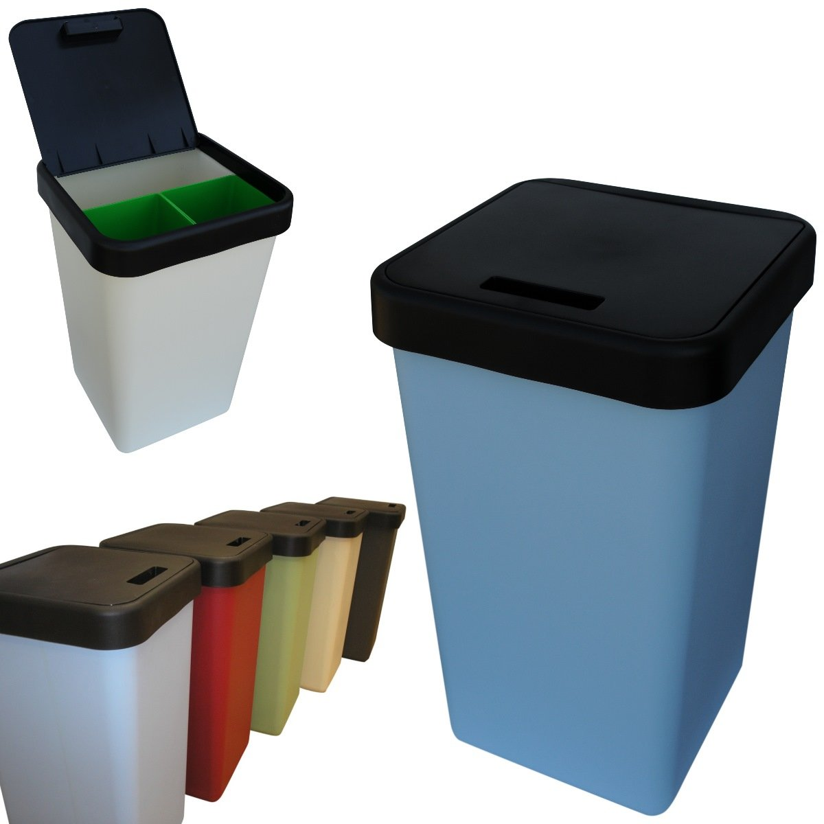 3 in 1 70L Kitchen Waste Bin, Compartments for Waste, Compost and ...