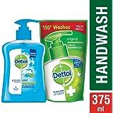 Dettol pH-Balanced Liquid Handwash Pump, Cool- 200 ml with Dettol Liquid Handwash Refill Pouch - 175 ml