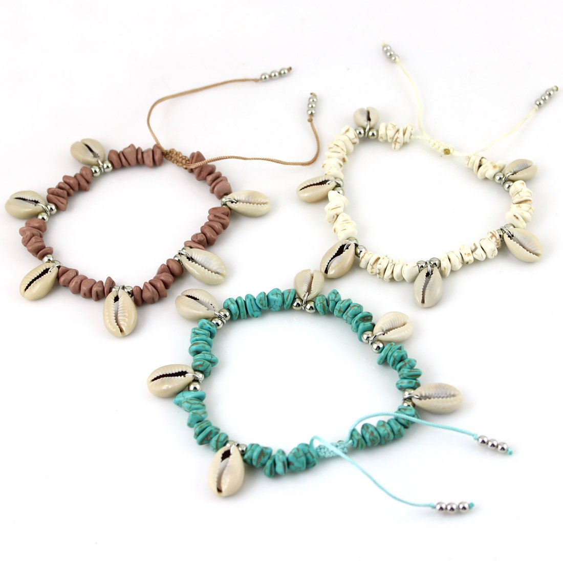 JAASA 3 piece Hot Selling Handmade Bracelets&Anklet Stone Shell Adjustable size Fashion Jewelry Boho Style Summer Accessories