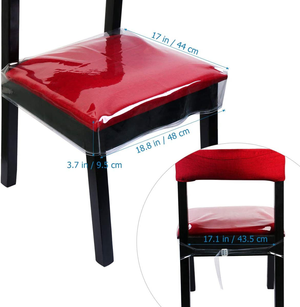 Chair Protector Dinning Chair Covers Waterproof PVC Seat Protector Clear, 48x45.7x10cm, 4 Pack