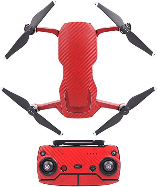 JXE Waterproof PVC Carbon Fiber Grain Stickers Graphic Skin Full Set Drone Body Battery Remote Controller Decals for DJI MAVIC AIR Red