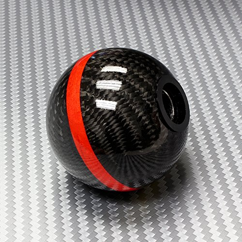 Universal Real Carbon Fiber Ball Manual Gear Shift Shifter Knob W/Red Stripe