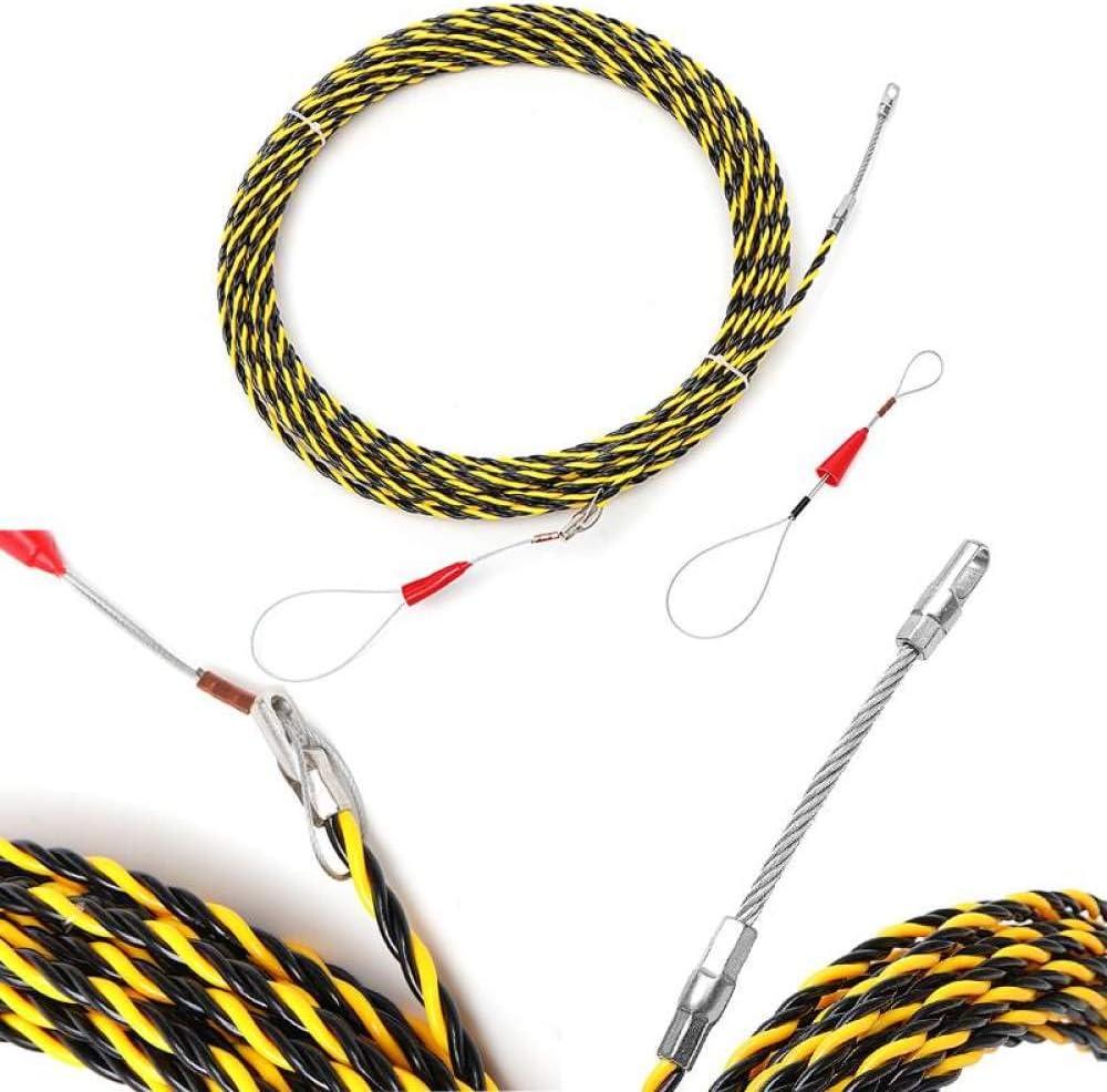 6 mm 5 metros a 50 metros Dispositivo de gu/ía del extractor de cable Fibra de vidrio Nylon Cable el/éctrico Extractores de empuje Cinta Herramienta de ayuda de roscado de alambre Extractor de cable