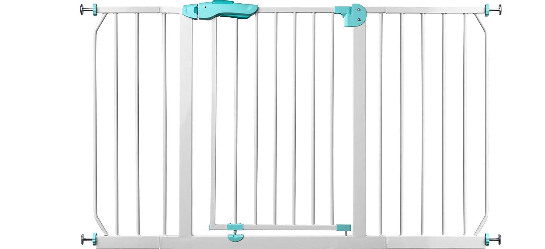 IB-Style m/étal 75-175 cm 75-85 cm Barriere de s/écurit/é des escaliers et des portes Kaya |modulaire extensible Blanc-Turquoise Auto-Close 90/° fixation