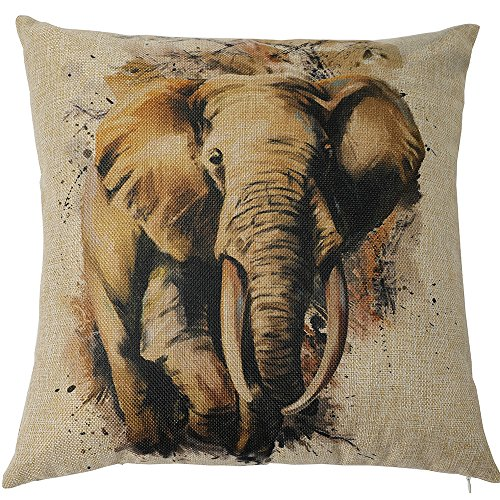 Kate 18 x 18 Inches Hand Painting Elephant Decorative Pillow Cover Double Printed Cotton Linen Blend Throw Cushion Case