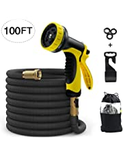 MODAR Garden Hose Expandable100ft Water Hose with Solid Brass Connector & 3-Layer Latex Inner Tube | 10-Pattern Hose Nozzles, 3 Rubber Washer (Black) (100ft)