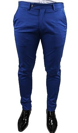 più recente 83f1f ff0d7 Pantaloni Uomo sartoriali Blu Chiaro Casual Elegante Slim Fit Made ...