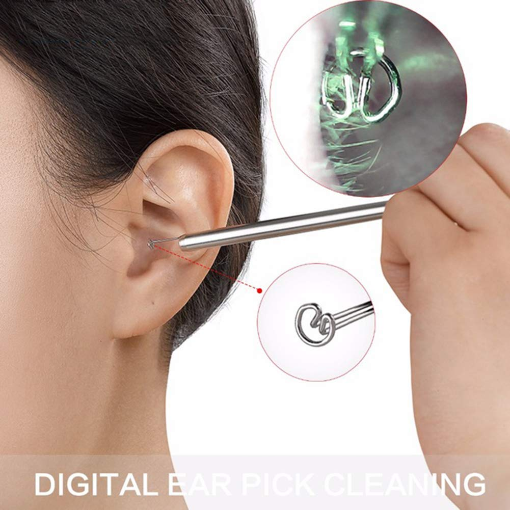 Ear Cleaning Endoscope, Visible Ear Wax Remover with Tool Stainless Steel Spoon Safe Healthy Cleaning Ear Care by QWERTY