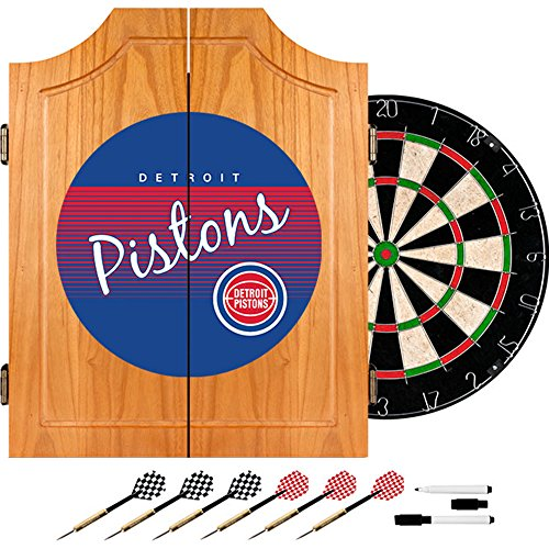 NBA Detroit Pistons Wood Dart Cabinet, One Size, Brown by Trademark Global