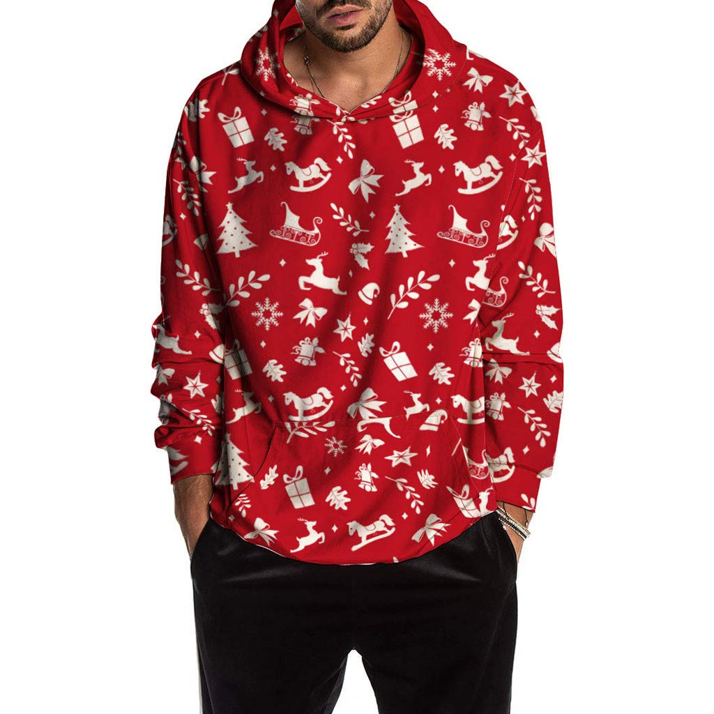 1KTon Unisex Christmas Print Hoodie Pullover Hooded Sweatshirts Pullover with Pockets by 1KTon