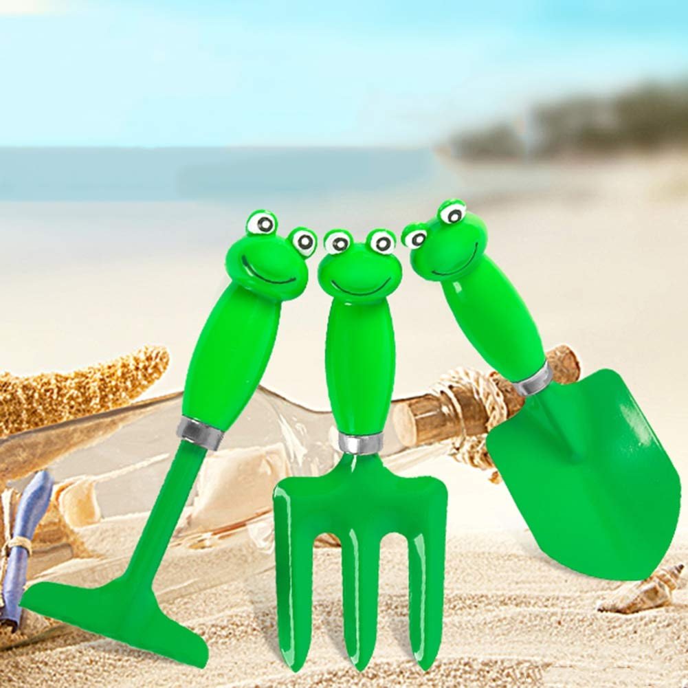 Kids Garden Tool 4 Piece Set,Beach Sand Indoor Outdoor Gardening Toy Kit, Ideal Gift for 5-13 Year Old Boys Girls,Green by GLXQIJ (Image #3)
