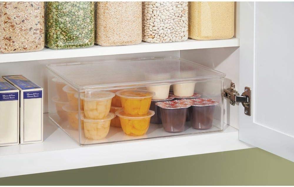 boite transparente pour conserver la nourriture de bébé conteneur de  stockage d'aliments pour réfrigérateur de 3,1 L transparent mDesign bac de  rangement avec couvercle etc lot de 4 Cuisine & Maison Organiseurs