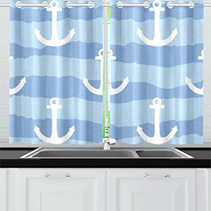 N A Marine Sea Anchor Sailor Kitchen Curtains Window Curtain Tiers For Cafe Bath Laundry Living Room Bedroom 26x39inch 2pieces Amazon Co Uk Kitchen Home