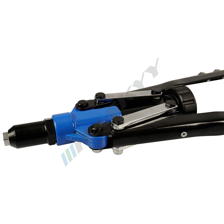 Pistola de remache Remachadora 3,2-4,0-4,8-6,0-6,4 mm mm incluye 150 remaches de aluminio en caja organizadora//malet/ín