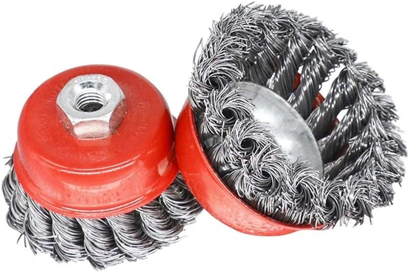 SHENYUAN Twisted Steel Wire Wheel M10-M14 Brush Strong Paint Remove Rotary Twist Knot Deburring 2.5-6 Inch for Metal Angle Grinder (Color : M14 4 Inch) Red Silver Tone