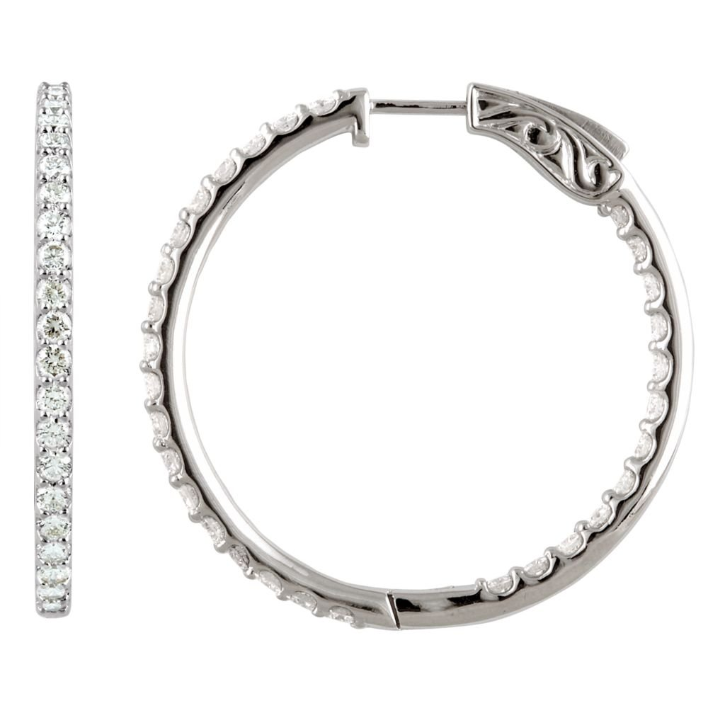 FB Jewels 925 Sterling Silver Imitation White Cubic Zirconia 41.5 mm Pair Polished Cubic Zirconia Hoop Earrings