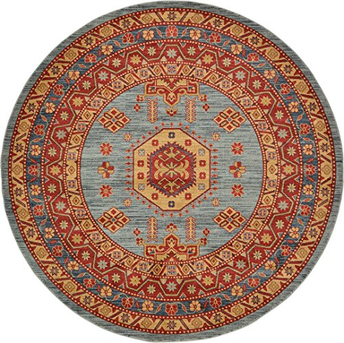 Beautiful Traditional Serapi Cllection Design, Light Blue 8' FT Round Area Rug - Home Décor Foor Carpet Living Dinning Room and Bedroom Rugs, Warm Up Your Home Décor (Large Rugs Round Area)