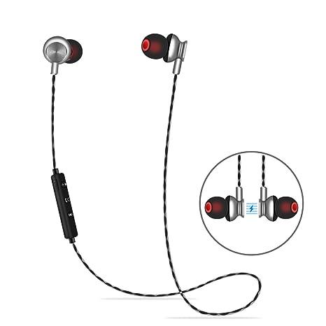ALWUP Auriculares Bluetooth, Auriculares Deportivos Inalámbricos con Tapones para Oídos Seguros Magnéticos Mic para Correr