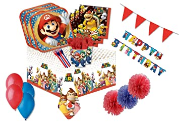 am-scan Decoraciones de cumpleaños Super Mario Run: Amazon ...