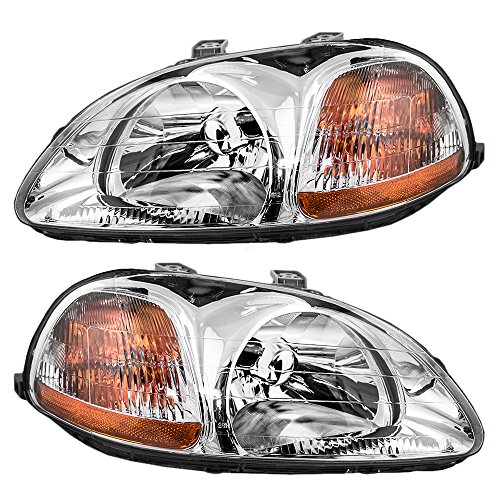 Headlights Headlamps Driver and Passenger Replacements for 1996-1998 Honda Civic 33151-S01-305 33101-S01-305