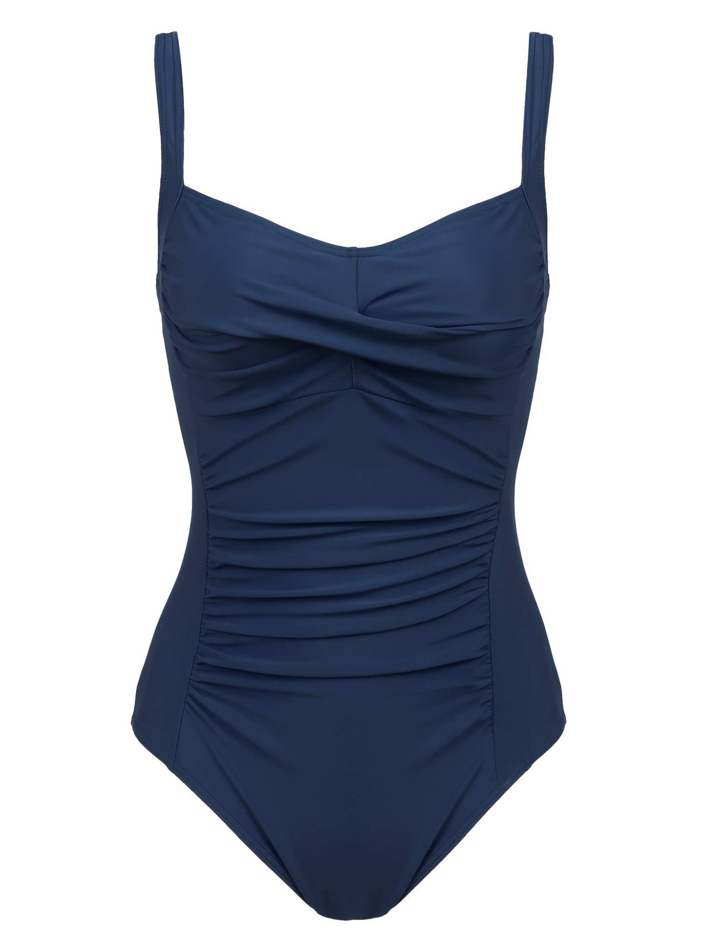 cb8f5dd590e Joyaria Womens Twist Front Ruched One Piece Swimsuit Tummy Control Slimming Bathing  Suit Retro Vintage Swimwear (Navy,Large)