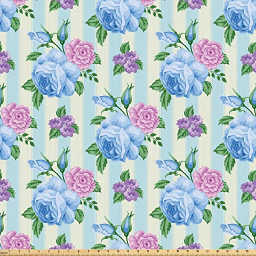 Lunarable Shabby Chic Fabric by The Yard, Spring Nature Inspired Bridal Bouquets with Roses on Vertical Striped Pattern, Microfiber Fabric for Arts and Crafts Textiles & Decor, 1 Yard, Multicolor from Lunarable