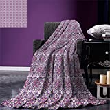 smallbeefly Vintage Digital Printing Blanket Abstract Oriental Floral Motifs Antique Hand Tile Design Repeating Pattern Summer Quilt Comforter White Purple Pink
