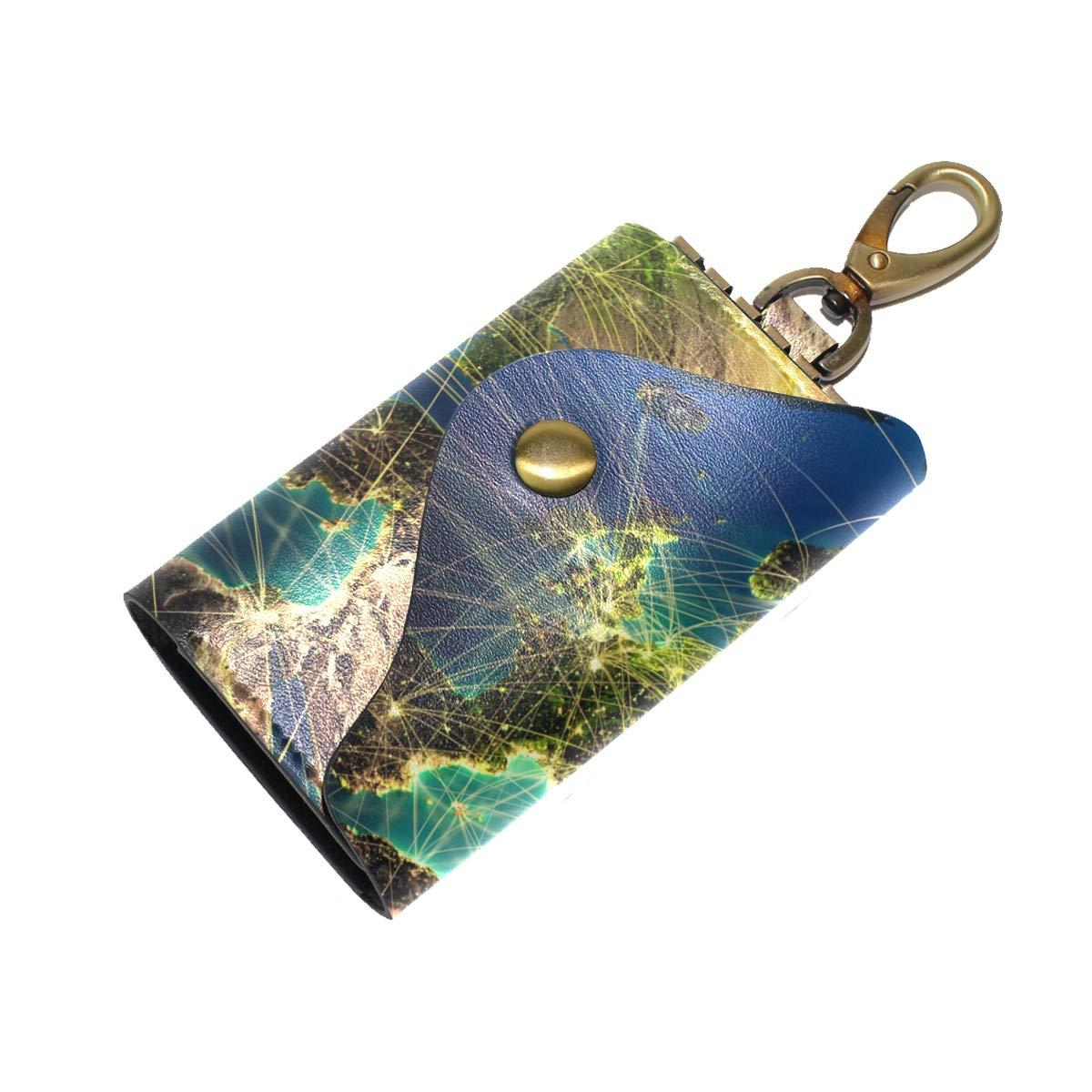 KEAKIA Earth Leather Key Case Wallets Tri-fold Key Holder Keychains with 6 Hooks 2 Slot Snap Closure for Men Women