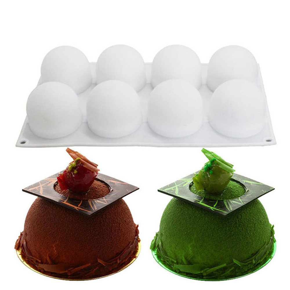 Kslong Baking Mold 8 Cavity Ellipse Steamed Bun Shaped White Silicone Mousse Cake Mould Cake Mold Pan Bakeware Maker Cake Tools
